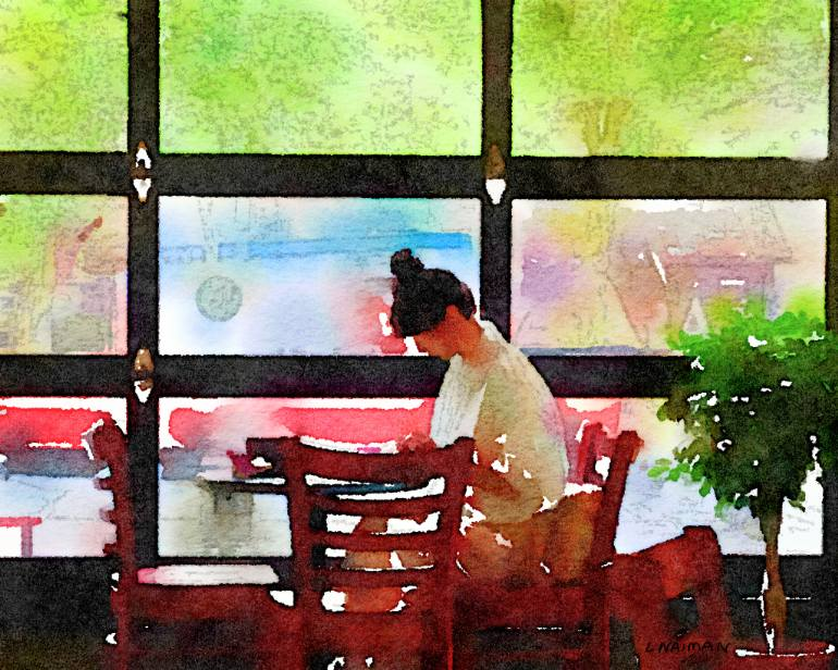Woman in Cafe. Art by Linda Naiman