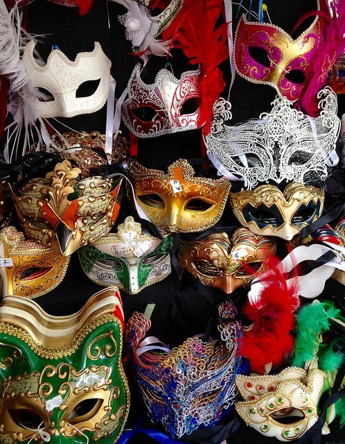 Street vendor mask display in Florence